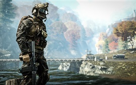 Preview wallpaper Battlefield 4, soldier at riverside
