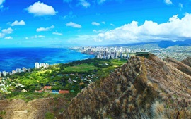 Preview wallpaper Beautiful Diamond Head, city, coast, Hawaii, USA