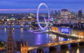 Preview wallpaper Beautiful London night view, skyline, river, bridge, lights, buildings, UK