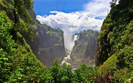 Preview wallpaper Beautiful landscape, Victoria Falls, Zimbabwe, cliffs, clouds, waterfalls