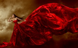 Preview wallpaper Beautiful red dress girl, jewelry, long hair, curls, art posture