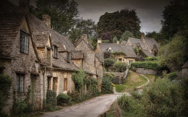 Beautiful town, trees, houses, Arlington Row, Bibury, England