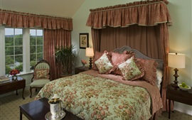 Bedroom, house, bed, quilt, interior design