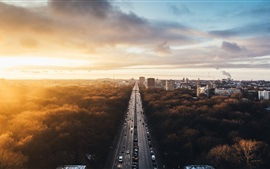 Berlin, Germany, city landscape, road, traffic, buildings, trees, sunset