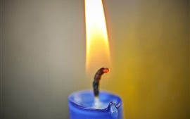 Blue candle, fire and flame, wick