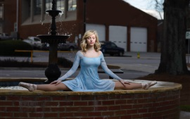 Preview wallpaper Blue dress girl, ballerina, blonde, fountain
