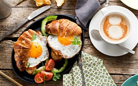 Preview wallpaper Breakfast, food, bread, fried eggs, tomato, coffee