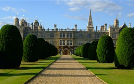 Burghley House, road, trees, gate, England