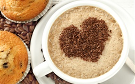 Preview wallpaper Cappuccino coffee, love hearts, cakes