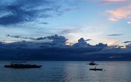 Cebu, Moalboal, Filipinas, por do sol, crepúsculo, nuvens, mar, barcos