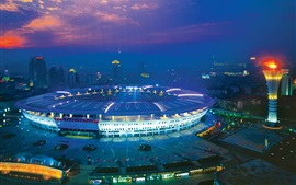 Changsha Helong Stadium, night, lights, China