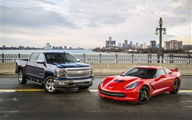 Preview wallpaper Chevrolet Silverado pickup, Corvette Stingray C7 red supercar
