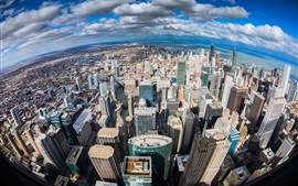 Preview wallpaper Chicago, Illinois, top view the city, ocean, skyscrapers