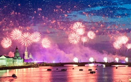 Colorful fireworks, night, city, river, water reflection