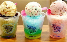 Preview wallpaper Colorful shaved ice, cream ball, dessert, summer cold drinks