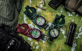 Preview wallpaper Compasses, map, bullets