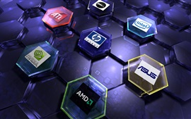 Aperçu fond d'écran logos de marques de matériel informatique