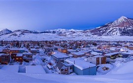 Preview wallpaper Crested Butte, town, thick snow, winter, Colorado, USA