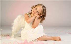Preview wallpaper Cute little girl, child, angel, wings