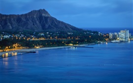 Preview wallpaper Diamond Head, USA, coast, sea, houses, night, lights