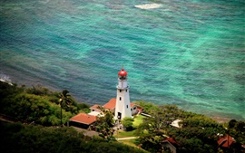 Diamond Head, farol, Hawaii, EUA, mar, costa