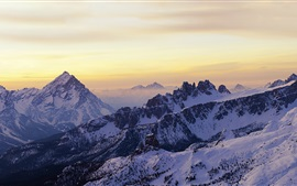 Dolomites, sunrise, snow, winter, Italy