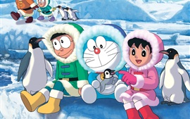 Preview wallpaper Doraemon, Antarctica cold, snow, penguins