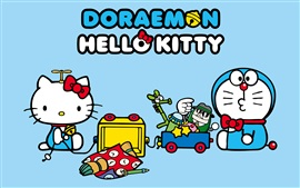 Preview wallpaper Doraemon with Hello Kitty
