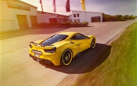 Preview wallpaper Ferrari 488 GTB yellow supercar back view, high speed