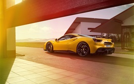 Preview wallpaper Ferrari 488 GTB yellow supercar back view