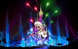Preview wallpaper France, Paris, Disneyland at night, beautiful fireworks, Christmas