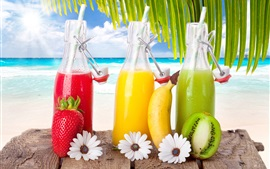 Preview wallpaper Fruit drinks, cocktails, strawberry, banana, kiwi, sea, beach, tropical, sun