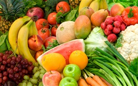 Fruits and vegetables, orange, apple, banana, tomato, melon, grapes