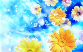 Preview wallpaper Gerbera, flowers, petals, water, blue background