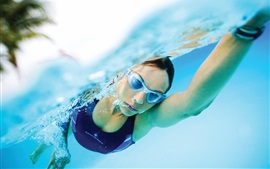 Preview wallpaper Girl in water, athlete, swimmer