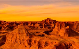 Preview wallpaper Gobi Desert, Mongolia, China, sunset, red style