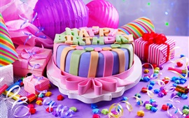 Happy Birthday, sweet cake, gifts, decoration