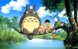 Preview wallpaper Hayao Miyazaki, My Neighbor Totoro, happy fishing