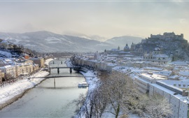 Preview wallpaper Hazy morning, snowstorm, river, Salzburg, Austria