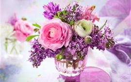 Início decoração flores, rosa, lilás, vaso, ramalhete