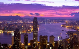 Preview wallpaper Hong Kong beautiful night, lights, skyscrapers, bay