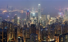 Preview wallpaper Hong Kong, skyscrapers, city night, lights, bay