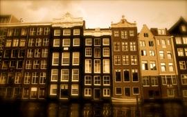 Casa, río, anochecer, Holanda