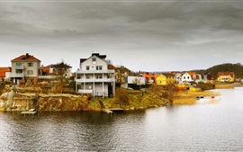 Preview wallpaper Idyllic houses, archipelago, Pantarholmen, Karlskrona, Sweden