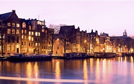 Preview wallpaper Illuminated, buildings, canal, night, Amsterdam, Netherlands