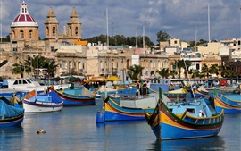 Preview wallpaper Island of Malta, boats, houses, sea