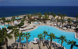 Preview wallpaper Island of Malta, resort, pool, palm trees, sea