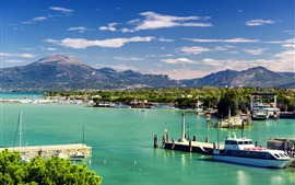 Preview wallpaper Italy, Peschiera del Garda, Veneto, mountains, pier, boats