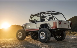Jeep CJ-8 Scrambler SUV back view, sunset