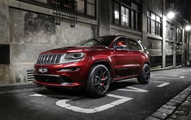 Preview wallpaper Jeep, Grand Cherokee, red SUV, city, road, night